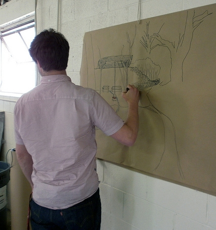 Charles Vinz sketching (photo by Sara Black)