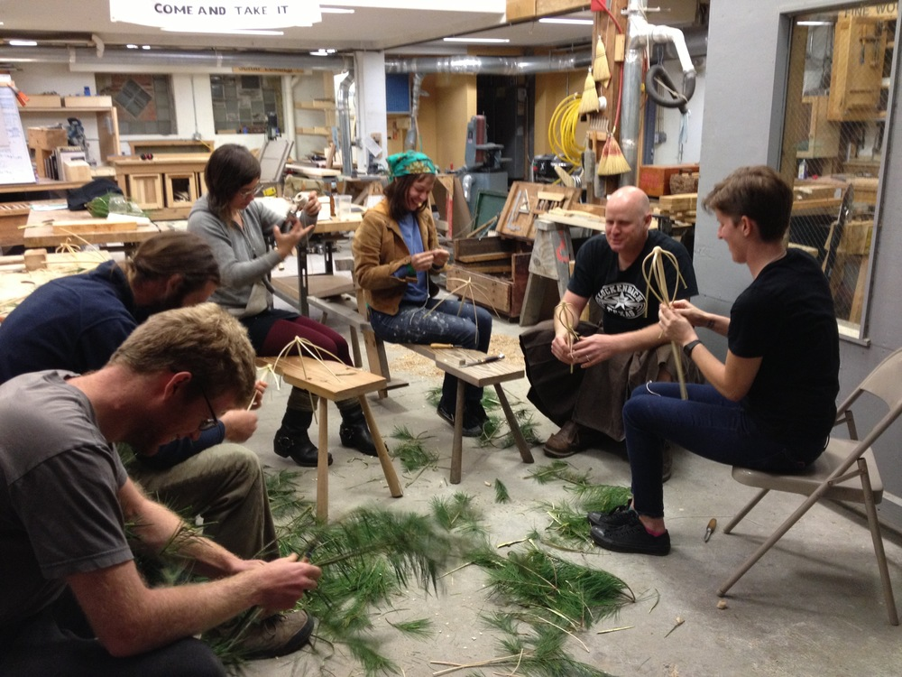 Making whisks from spruce on the first night of the course, Yestermorrow 2013