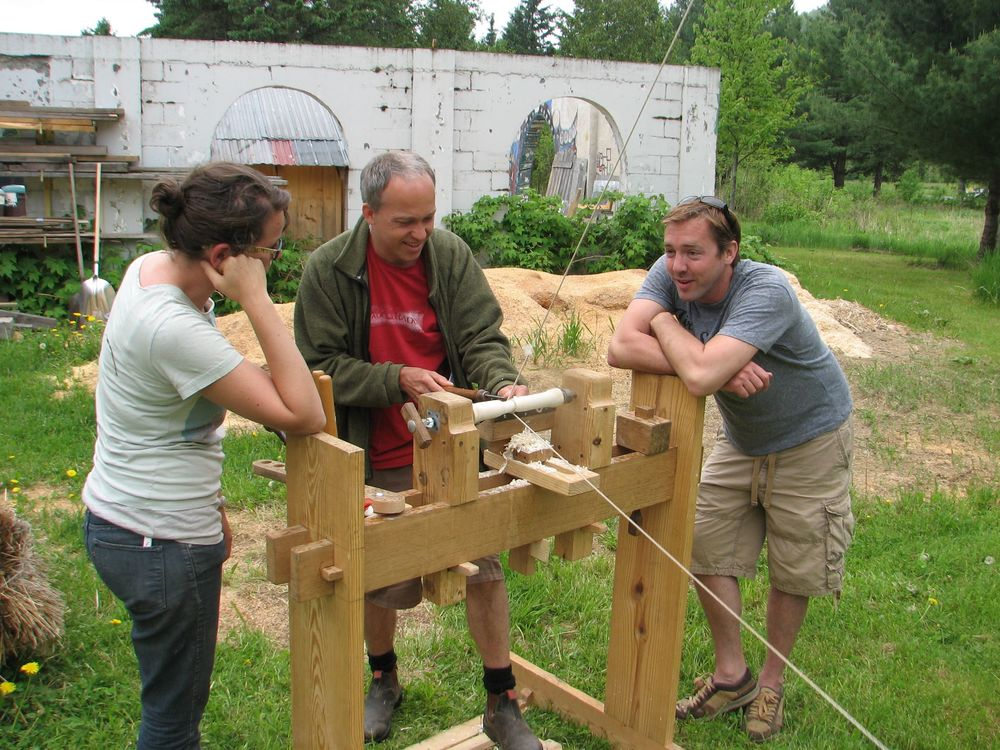Spring pole lathe, Yestermorrow 2012