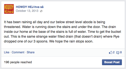 Facebook post about rain and potential flooding
