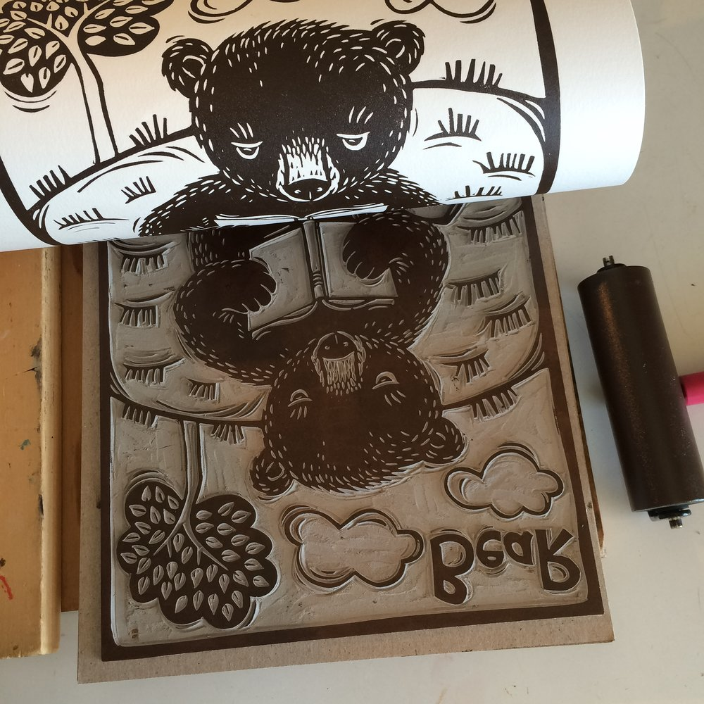 Bear linocut