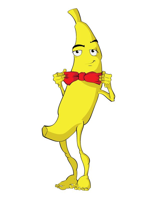 A daper banana man with a bowtie.
