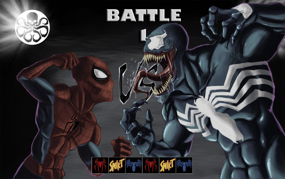 Spiderman and Venom ready to fight on the Mortal Kombat 3 versus screen.