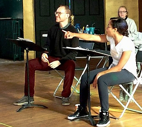 With choreographer Steph Paul and stage manager Patti Kelly in rehearsal for  The Royale.