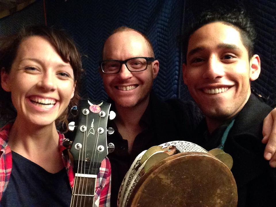 With actor/musicians Emily Casey and Richard Juarez.