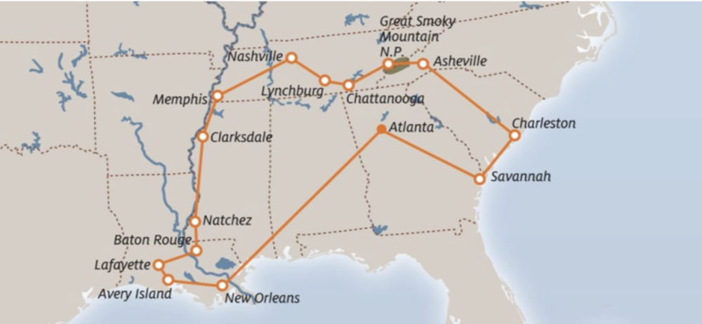 ATLANTA  -  SAVANNAH  -  CHARLESTON  -  BOONE HALL PLANTATION  -  GREAT SMOKY MOUNTAINS  -  CHATTANOOGA  -  JACK DANIEL'S DISTILLERY  -  NASHVILLE  -  MEMPHIS  - GRACELAND  -  CLARKSDALE  -  NATCHEZ  -  BATON ROUGE  -  LAFAYETTE  -  AVERY ISLAND / TOBASCO  -  NEW ORLEANS - ATLANTA