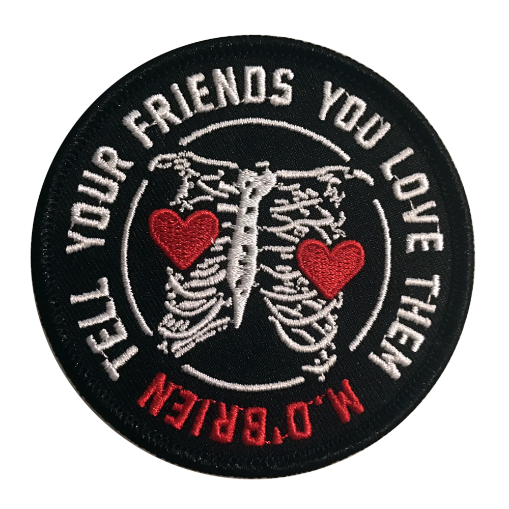 "JUST IN... - 'Tell Your Friends You Love Them' Rib Cage Patch.Illustration by Matt O'Brien.  Profits donated to the Brain Foundation Australia.3"" circlular embroidered patches, with thick merrowed edges and iron on backing.>> SHOP NOW <<"