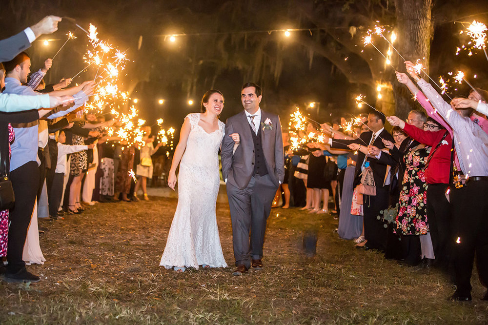 Sparkler Exit Wedding Photo