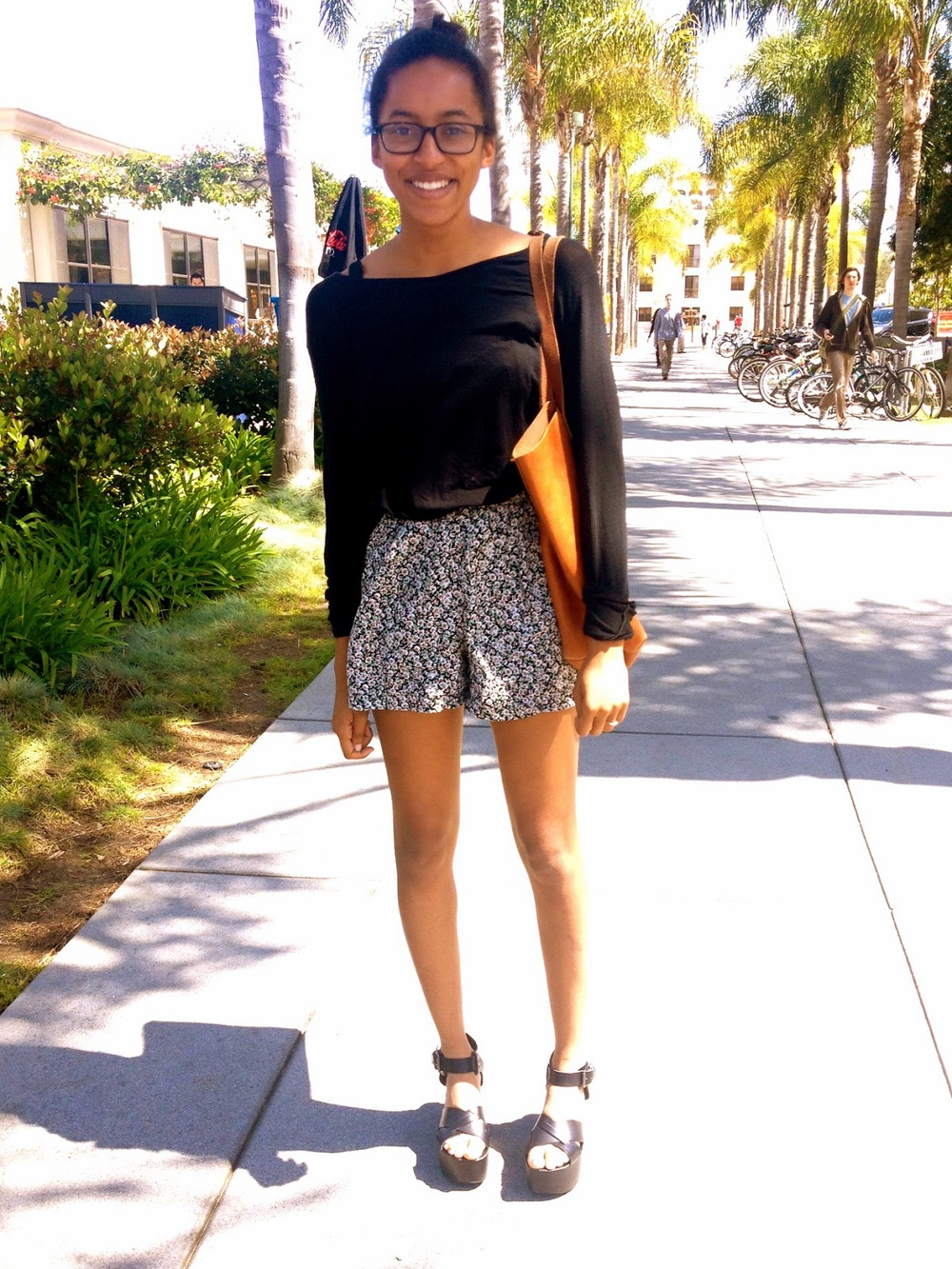 Top: Brandy Melville, Lace Bra: Free People , Shorts: Vintage American (Thrift Store), Bag: Madewell , Shoes: Top Shop