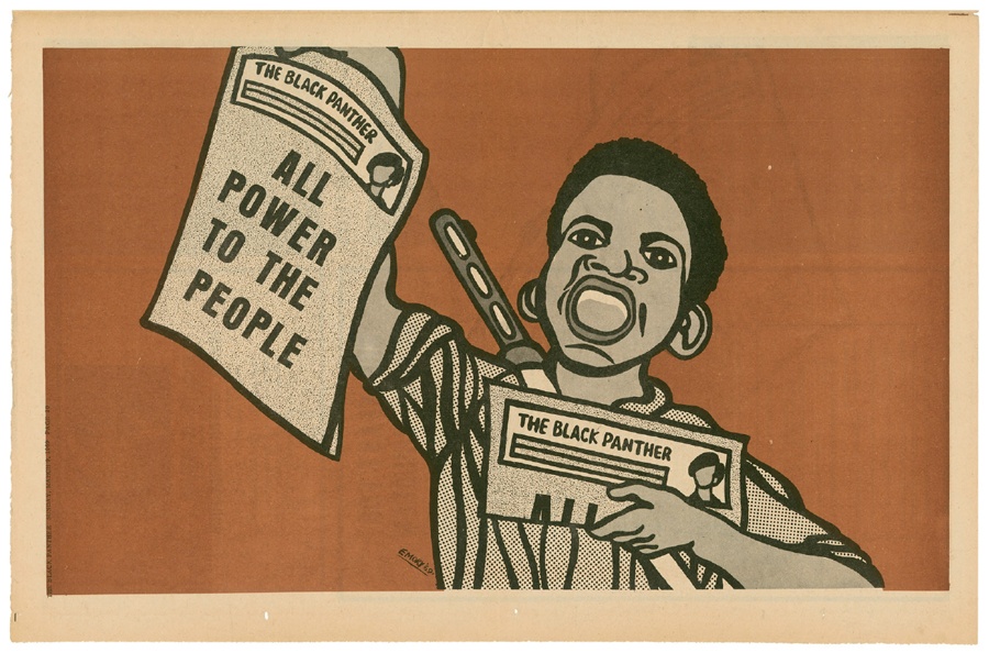 Emory Douglas,   The Black Panther Party Newspaper  , 1969, Vol II, No. 25. Courtesy: Stuart A. Rose Manuscript, Archives, and Rare Book Library at Emory University