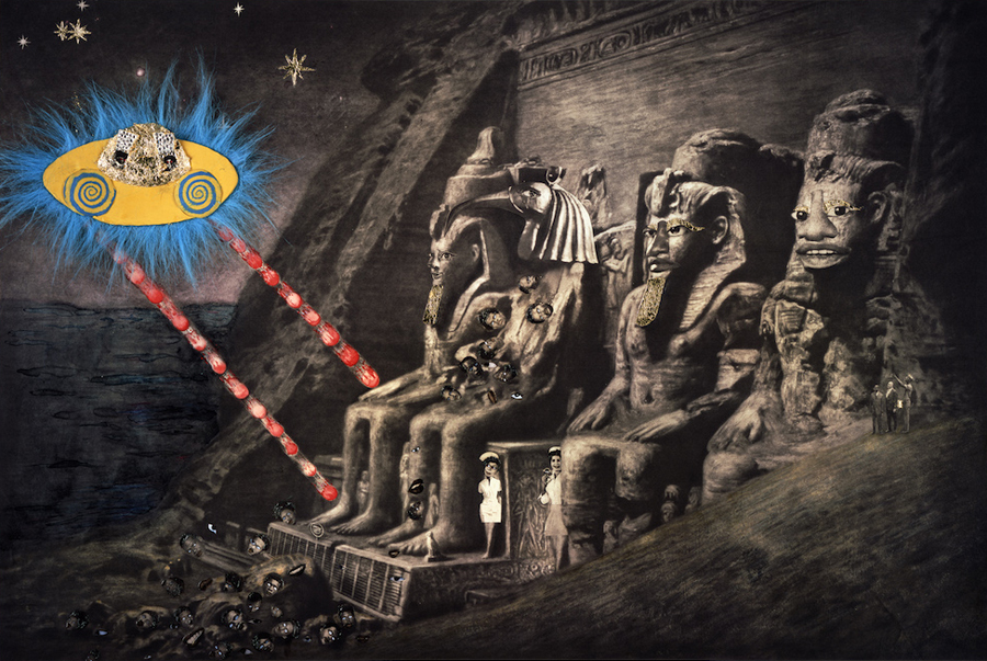 Ellen Gallagher, Abu Simbel, 2005, photogravure, watercolour, coloured pencil, varnish, pomade, plasticine, blue fur, gold leaf, and crystals, 6.1 x 8.9 m. Courtesy: Gagosian Gallery; photograph: © 2016 Ellen Gallagher