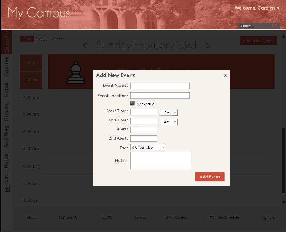 Adding an event to the calendar - desktop version