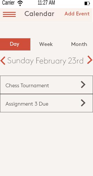 Calendar daily view - mobile