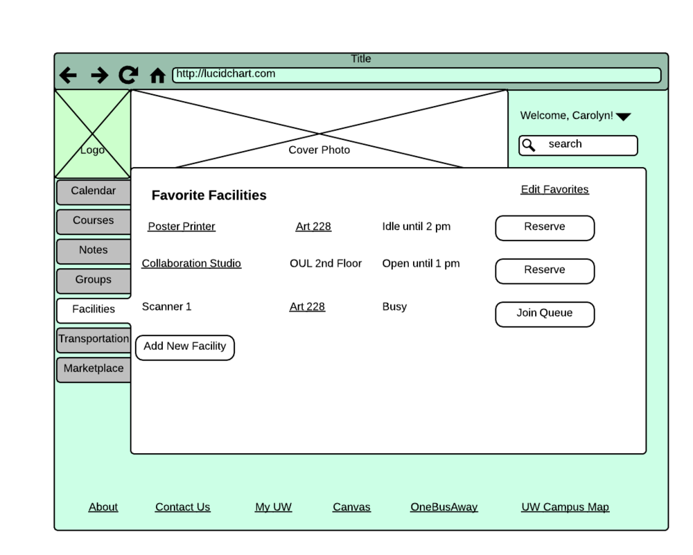 Wireframe for the facilities page - desktop version