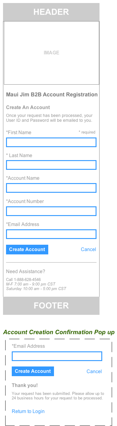 create account - mobile