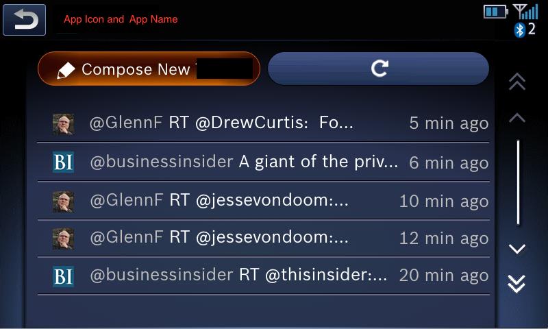 App main screen - Timeline