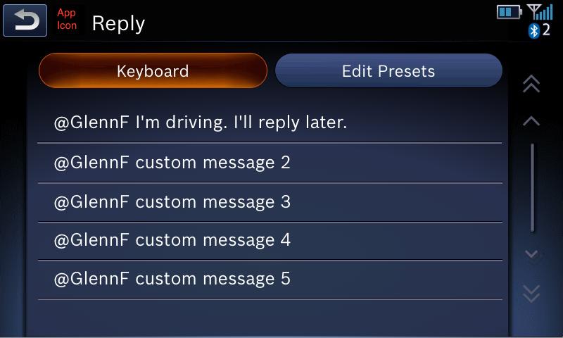 Reply screen