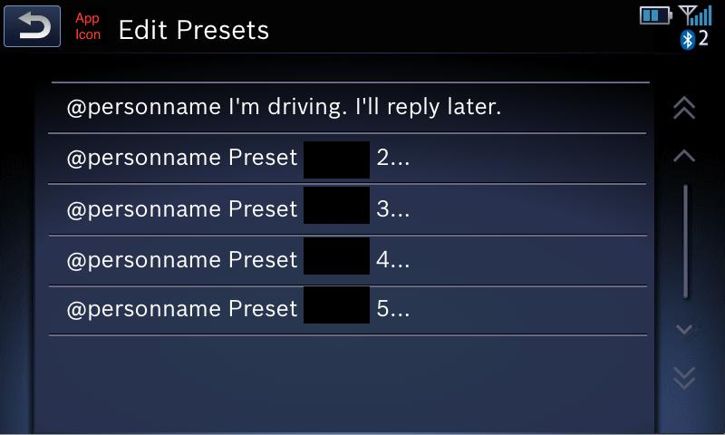 Edit Presets screen
