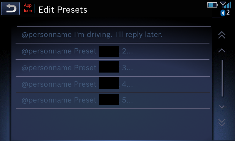 Edit Presets screen - Distracted Driver mode enabled, buttons disabled when vehicle is in motion