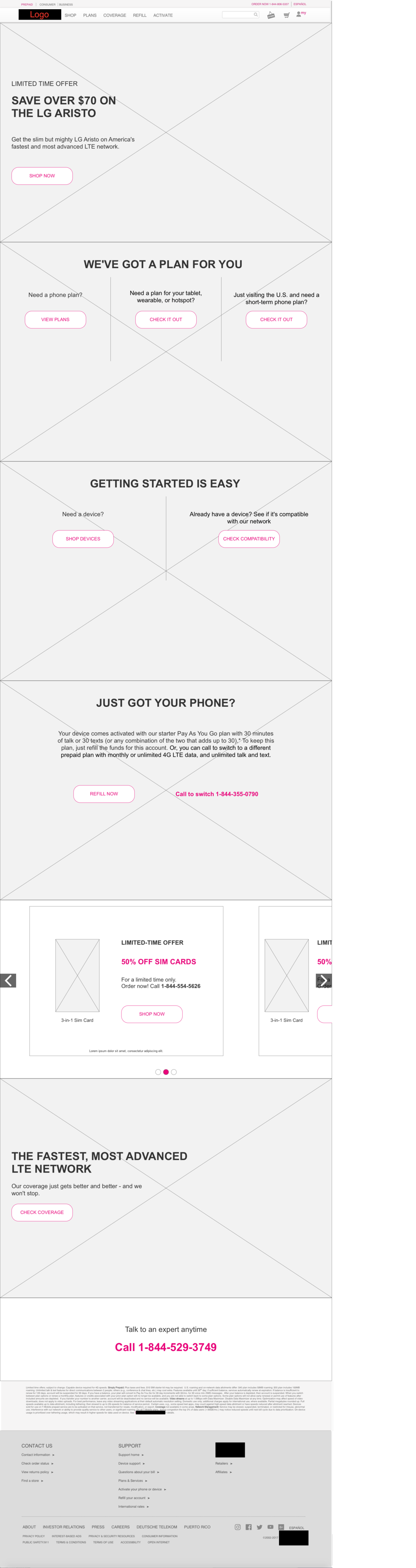 Prepaid phones landing page - desktop