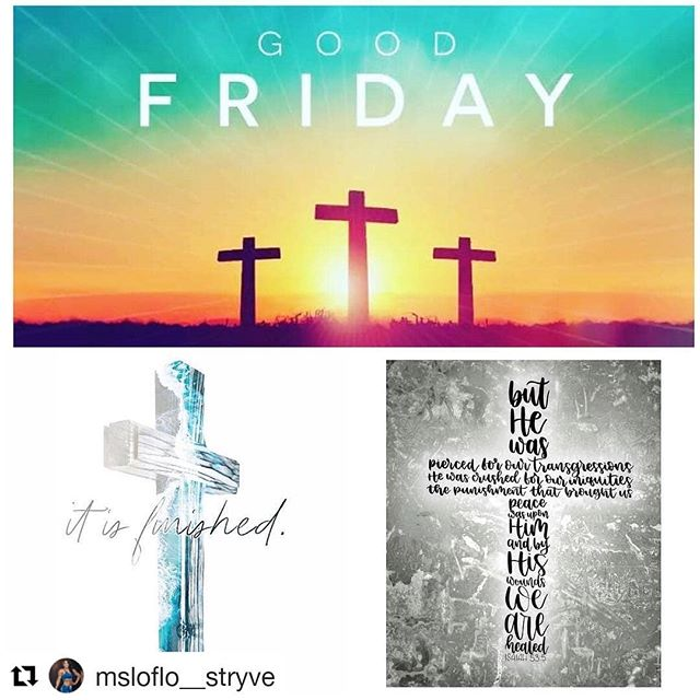 """#Repost @msloflo__stryve """"Tetelestai...."""" On this day we remember that a sinless perfect man was hung on a cross to die for our sins and to wash us clean as snow. His last words will forever ring in our hearts.... """"It is finished."""" John 19:30 #goodfriday #amen #Jesus #allaboutJesus #goodfriday🙏 #hallelujah ________  Love you LOML, amen! Thank you, Jesus we praise you, love you and want to bring all glory and honor to you."""