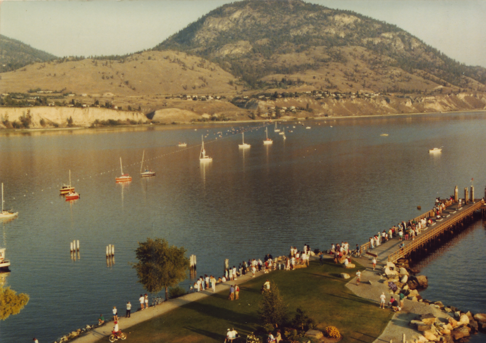 Swim portion of the 1983 Ironperson. The swimmers can be seen in the middle of the photo.