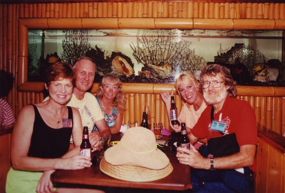 L to R: Judy Collins, John Collins, Lynn Van Dove, Valerie Silk and a long-time Hawaii race photographer at the Cantina, Kona, in 1990 (Valerie's final year as head of Ironman)