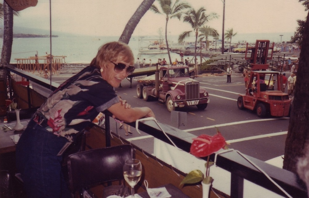 Kay Rhead watches race preparations, Kona.