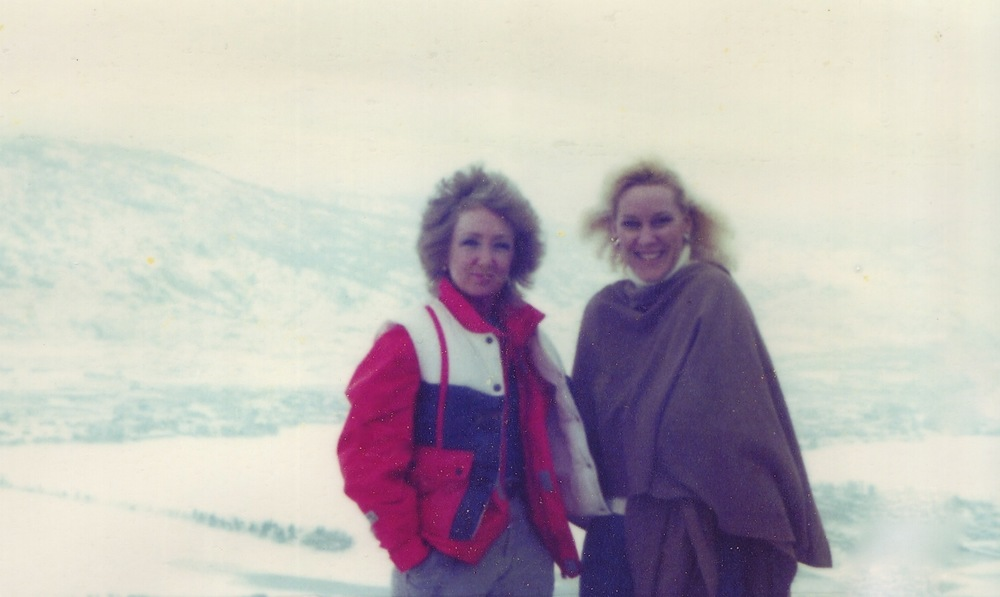 Lynn Van Dove and Valerie Silk on Richter Pass, January 1986.
