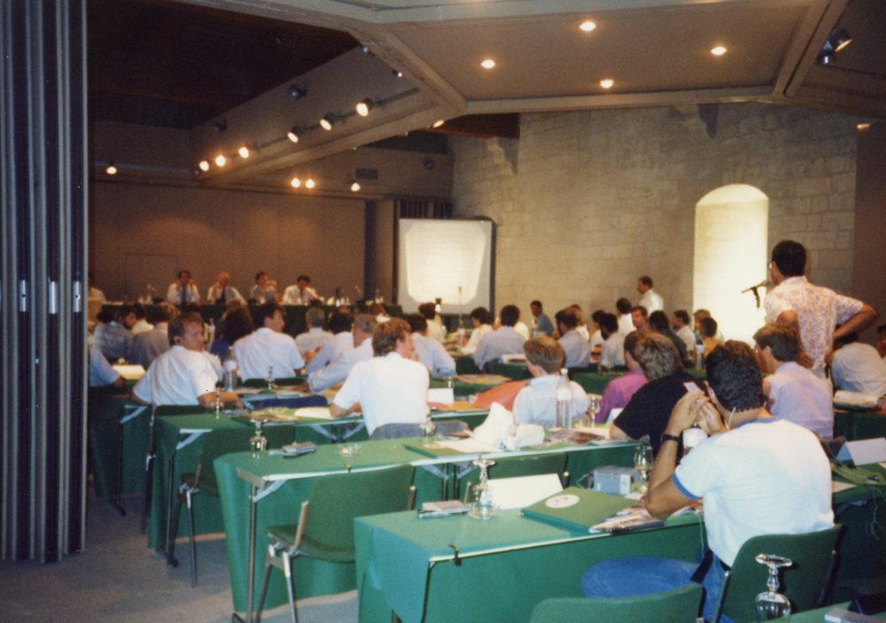 Delegates meet inside the Palace.