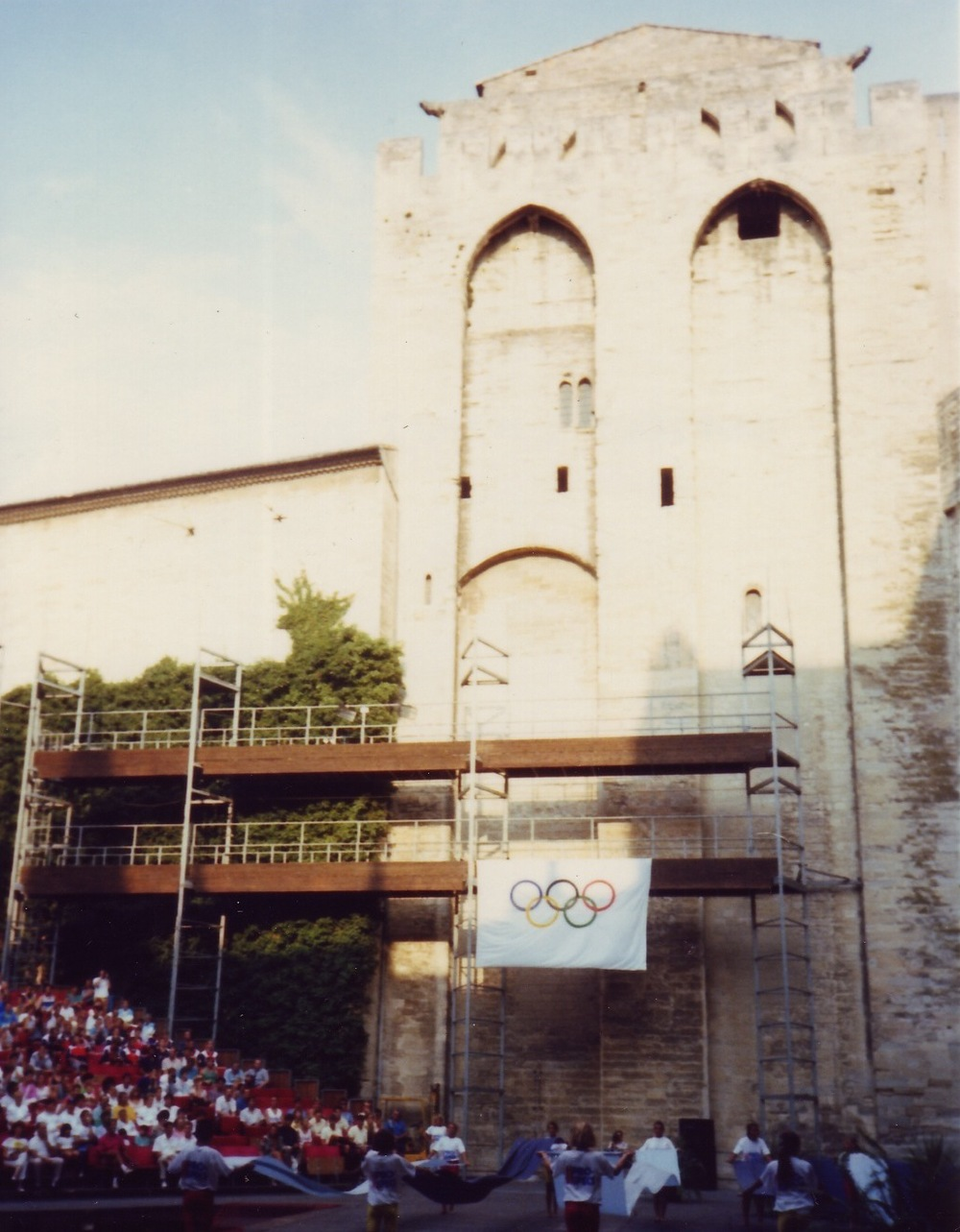 The Olympic flag on the Popes' Palace, 1990.