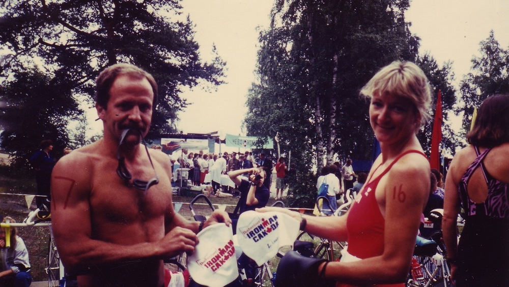 Two Ironman Canada finishers competing in Zelenogorsk. The woman is Carol Truelove. I can't remember the man's name.