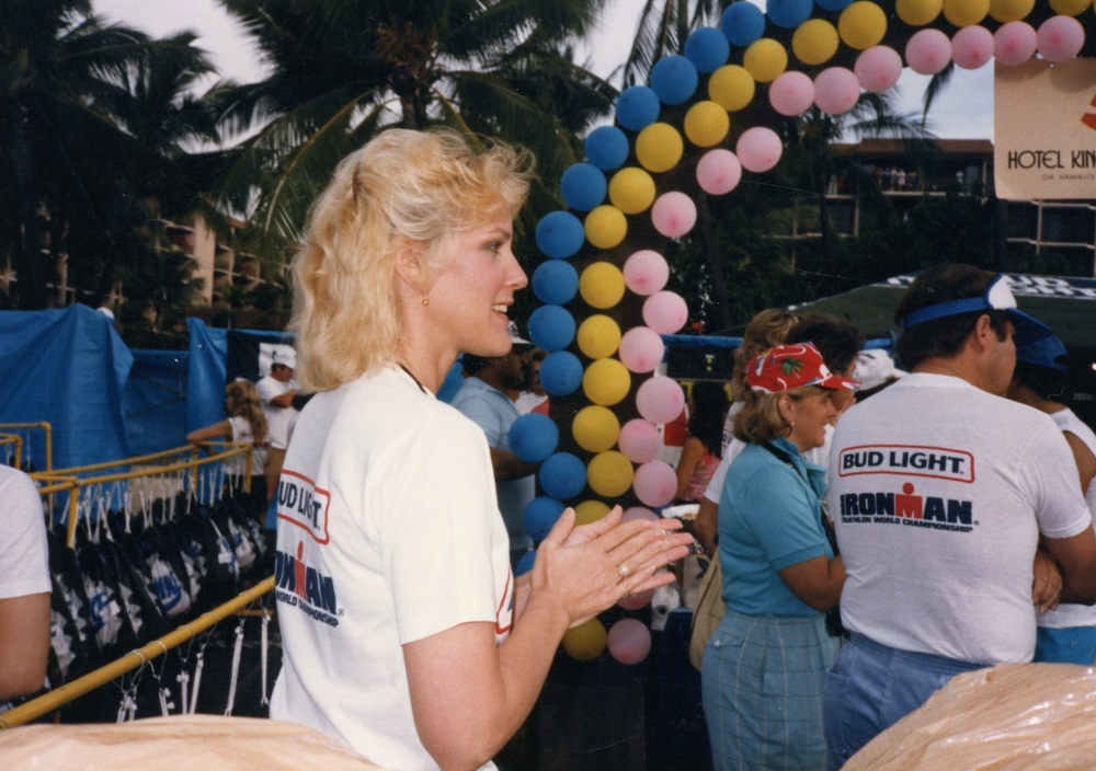 Ironman matriarch Valerie Silk at the finish of the 1985 Ironman Championship, Kona.