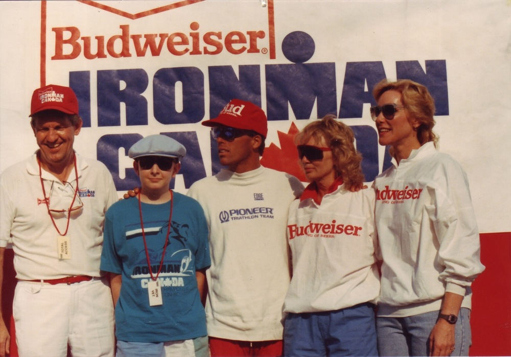 L to R: Howie Larke (Labatt's/Budweiser), a Make-A-Wish Foundation participant, three-time Ironman Canada champion Ray Browning, race director Lynn Van Dove, and Hawaiian Ironman race chairman Valerie Silk