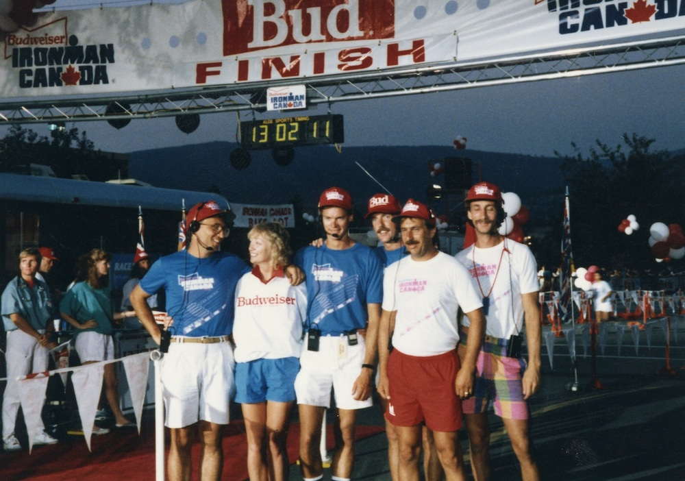 Lynn with members of the CBC Television crew at the finish line.