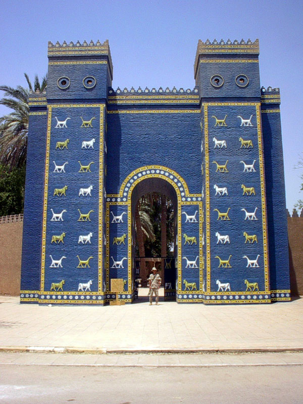In the 1950s, in the area that was ancient Babylon, the government of Iraq built a three-quarter reconstruction of the Ishtar Gate out of plaster and plywood to replace the original excavated and removed by the Germans. It was meant to stand as the entrance to a proposed museum. The museum was never completed. During the Iraq War, it served as one of the most popular photo backdrops for US soldiers serving in Iraq.