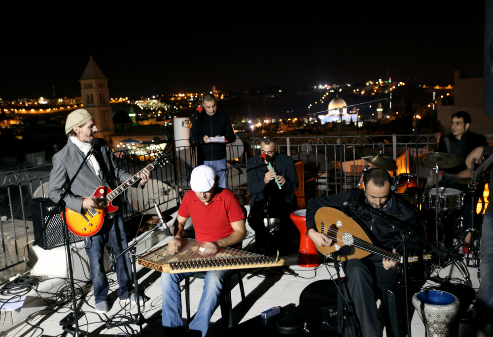 The Breakup  culminated in a recreation of that final concert, three decades later, against the backdrop of the Old City and the Dome of the Rock. Members of the celebrated Palestinian band Sabreen—who met at university in the early 1980s and began their career playing Beatles songs at wedding parties, and who had broken up in 2002—came together to perform five Arabic-inflected Beatles songs on the roof of the Swedish Christian Study Centre in Jerusalem.