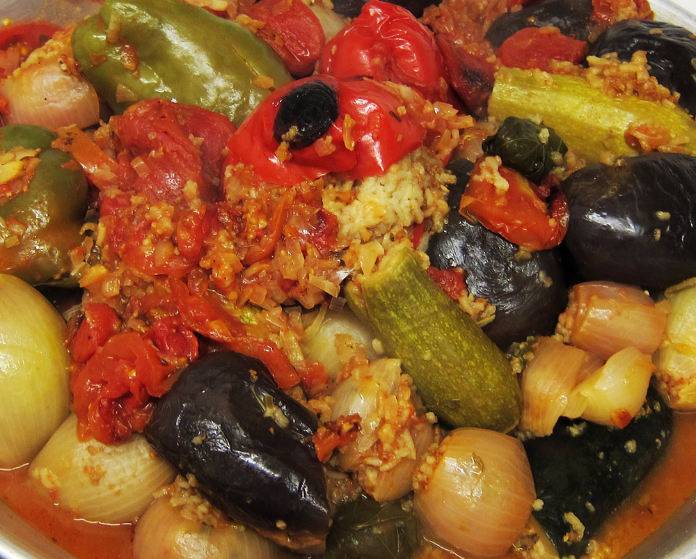 Mhasha , a dish consisting of stuffed grape leaves, aubergines, courgettes, peppers, onions and tomatoes. Cooked and served on the final night, May 7, 2013.