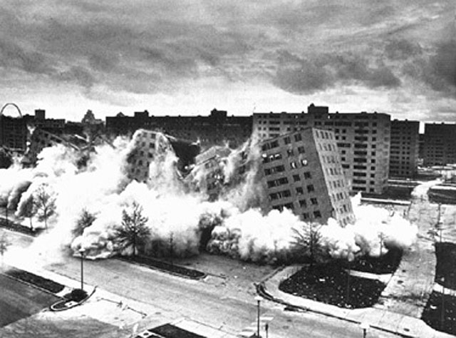 The hush, like that of a football crowd awaiting the outcome of a crucial place kick in the last seconds of a bowl game, was ended by sharp explosions. As the reinforced steel and concrete building crumbled into rubble a spontaneous shout arose from the spectators.     - St. Louis Post-Dispatch , April 22, 1972, the day after the second Pruitt-Igoe building was imploded