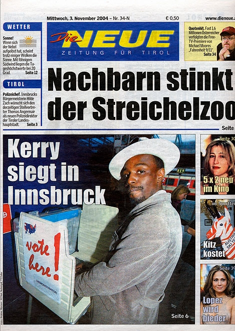 Newspaper declaring Kerry the winner in Innsbruck, Austria