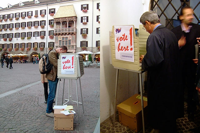 Voting in Innsbruck, Austria