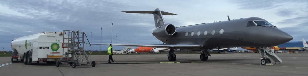 A Gulfstream IV on a Q  uick Tech Stop & Crew Change at Belfast/EGAA