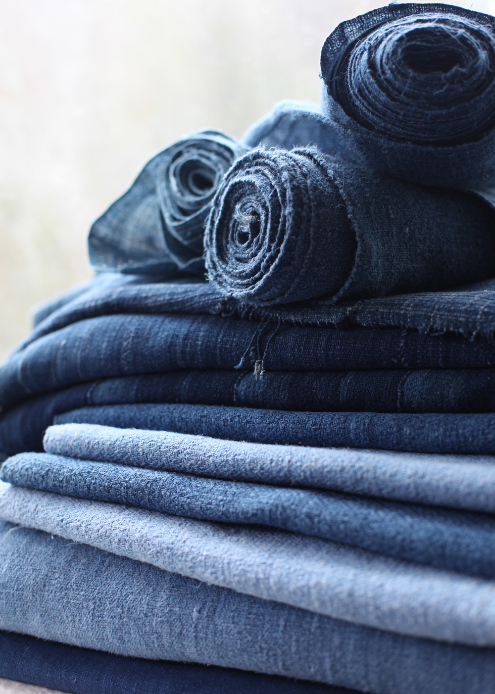 Stack of antique hemp and linen natural Indigo