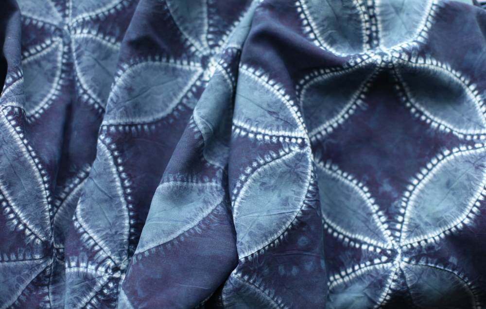 Sandwashed crepe stitch resist, 'Awase-nui' natural Indigo