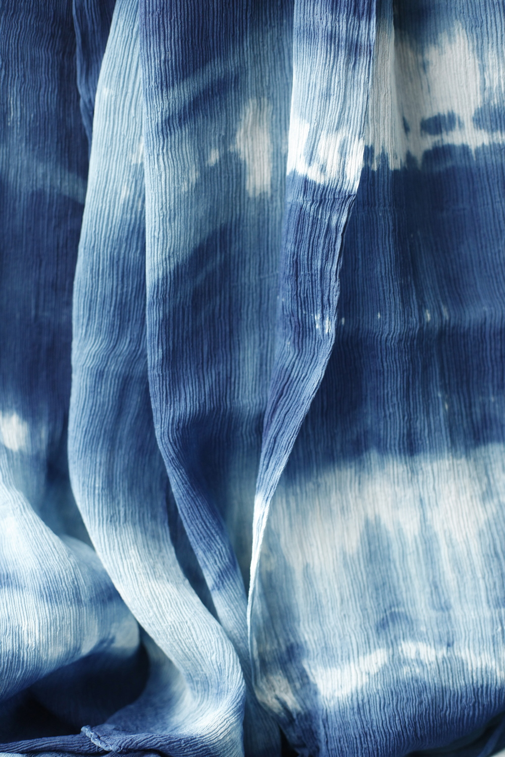 Silk chiffon bind resist natural Indigo