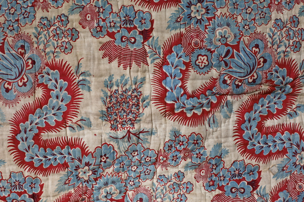 C18th French block print quilt