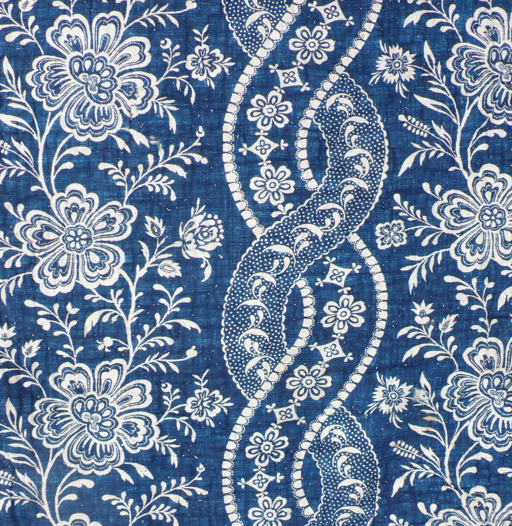 C18th Indigo French block print
