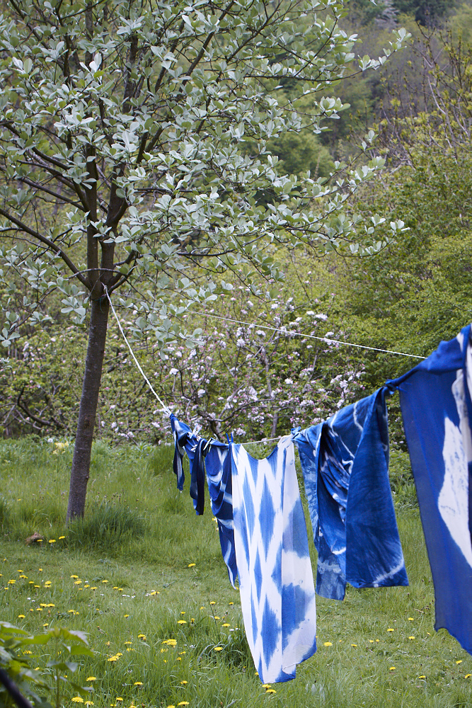 Indigo shibori scarves drying on line