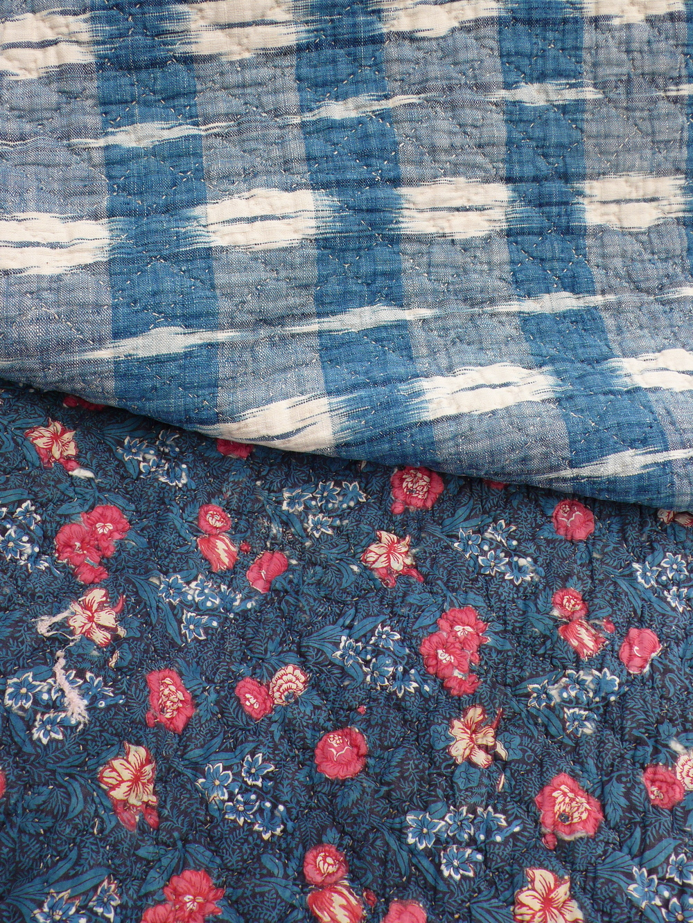 C18th French block print quilt flame back