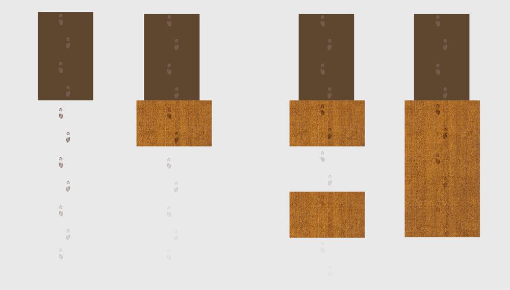 Senza puliscipiedi, chiunque dalla strada faccia ingresso nell'edificio vi porta dentro sporco e umidità. Già un semplice tappeto zerbino Ruckstuhl in fibra di cocco riesce ad assorbire una gran parte dello sporco e umidità, sporcizia e umidità. Ma ancora più efficace sarà un sistema a due livelli. Ideale è un puliscipiedi lungo 6 passi.